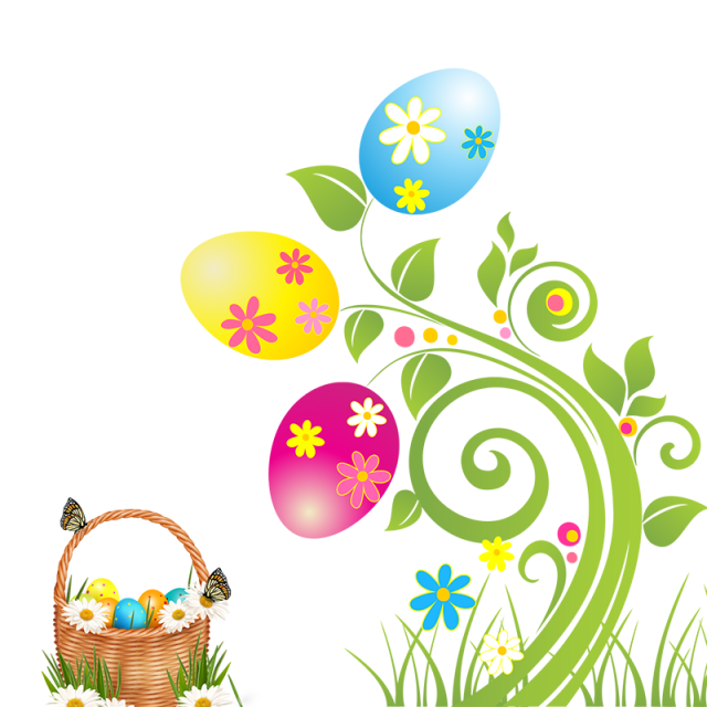 Easter flowers png. And basket eggs psd