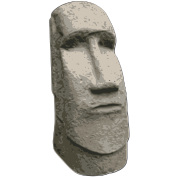 Moai drawing sculpture. Brown stone easter island