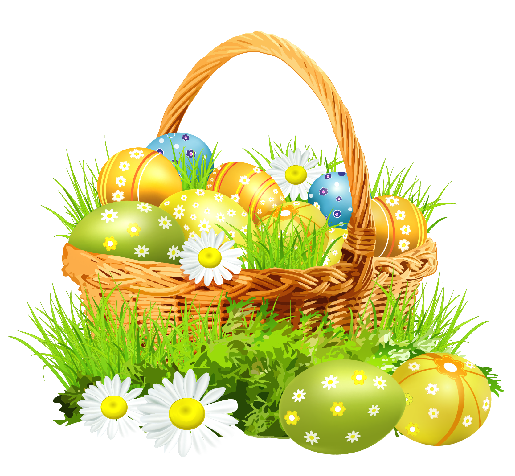 Easter png images. Basket with eggsand daisies