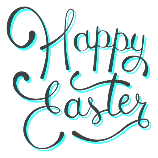 Easter text png. Happy cyan shadow message