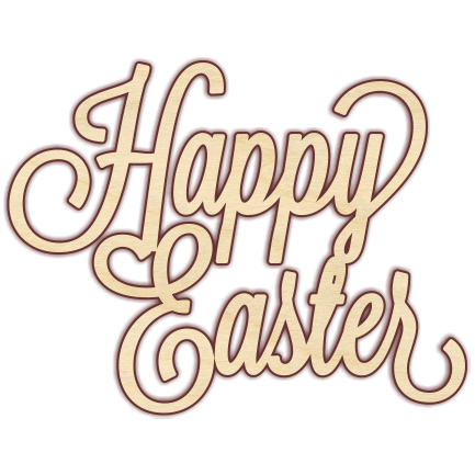 Happy easter png different font. Curly text transparent stickpng