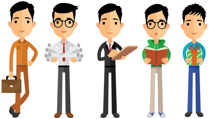 One vector person. Pack collection premium