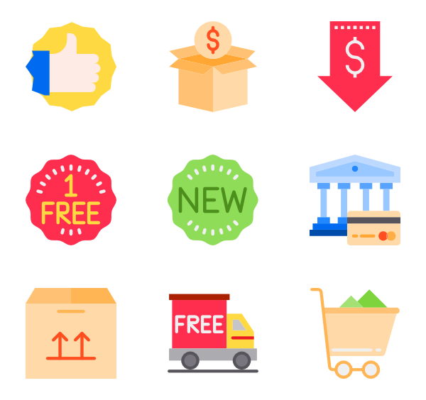 Up vector goods. Box icons free shopping