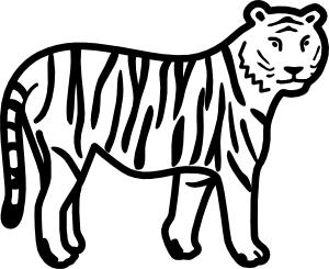 Easy vector tiger. Standing looking and watching
