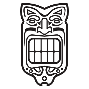 Akuma drawing tiki mask. Hawaiian template coloring page