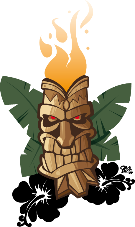 Easy vector tiki mask. Desihn de tatouage texturehunter