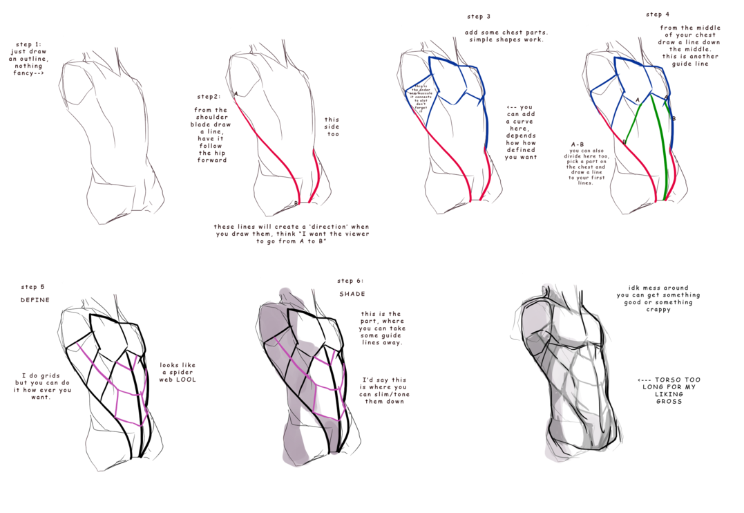 Posture drawing proper. Abs how to by