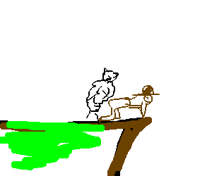 Edge drawing cliff. Sheep rams cowboy in