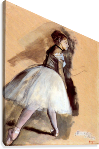 Edge drawing dance position. Dancer in step by
