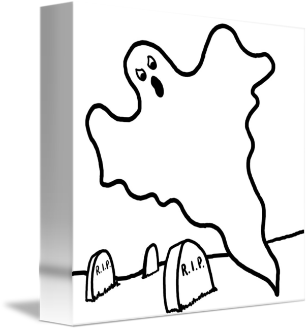 Edge drawing float mounted. Halloween ghost floats over