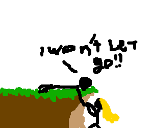 Edge drawing girl on cliff. Guy won t let