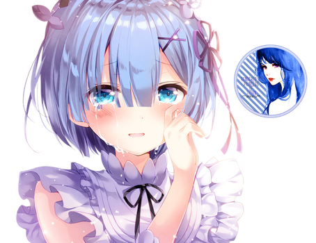 Edge drawing girl on cliff. Rem render by princess