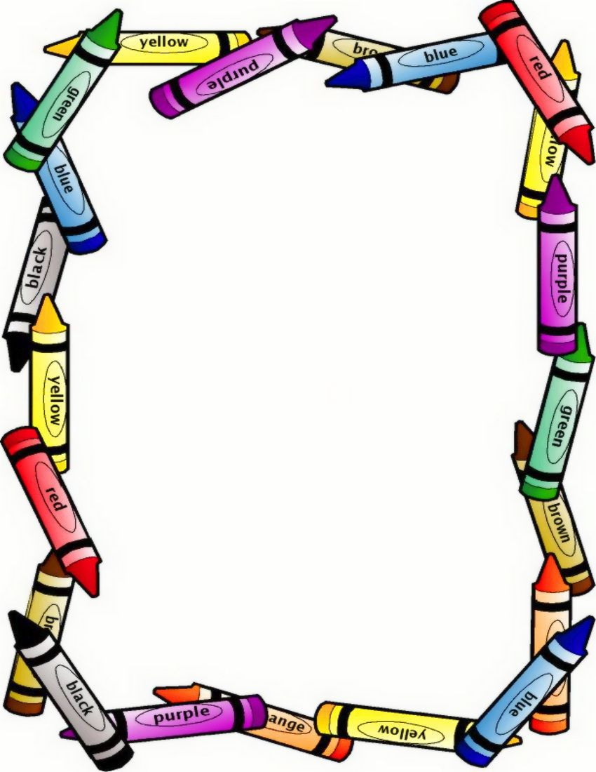 Education clipart frame. Boarders crayon border large