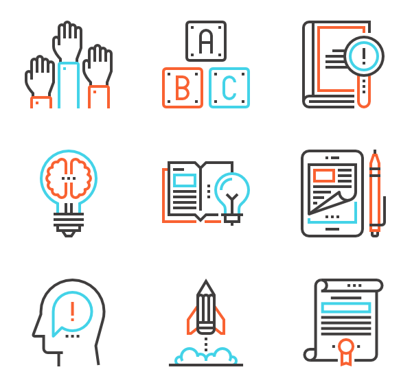 Educational vector knowledge. Education icon packs