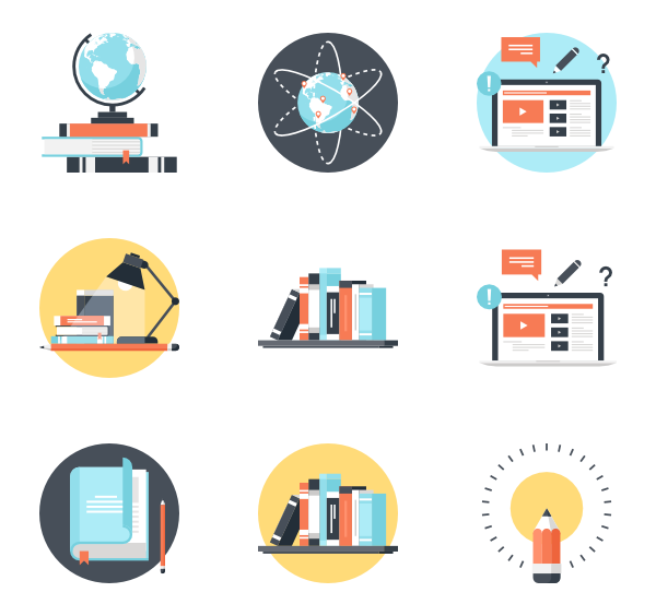 Educational vector knowledge. University icons free education