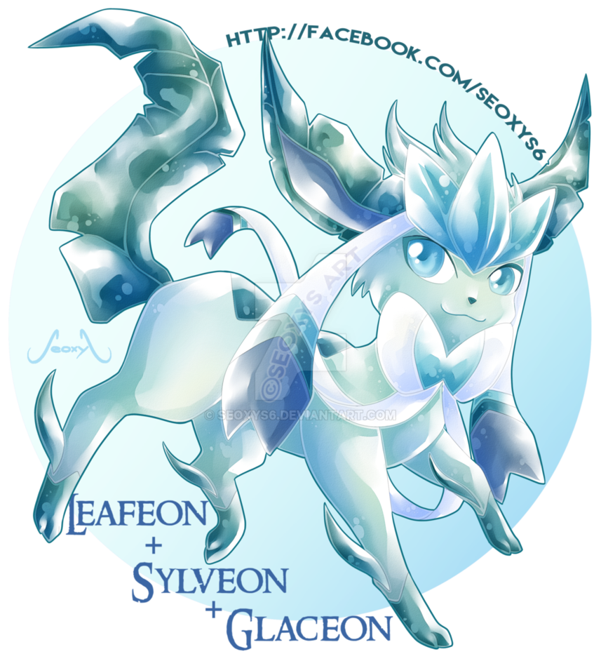 Eeveelution drawing fusion. Leafeon x sylveon glaceon