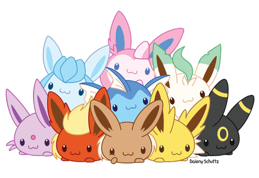 Eeveelutions drawing watercolour. Chibi eevolution by daieny