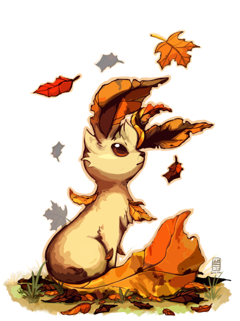 Eeveelutions drawing watercolour. Leafeon by stormful on