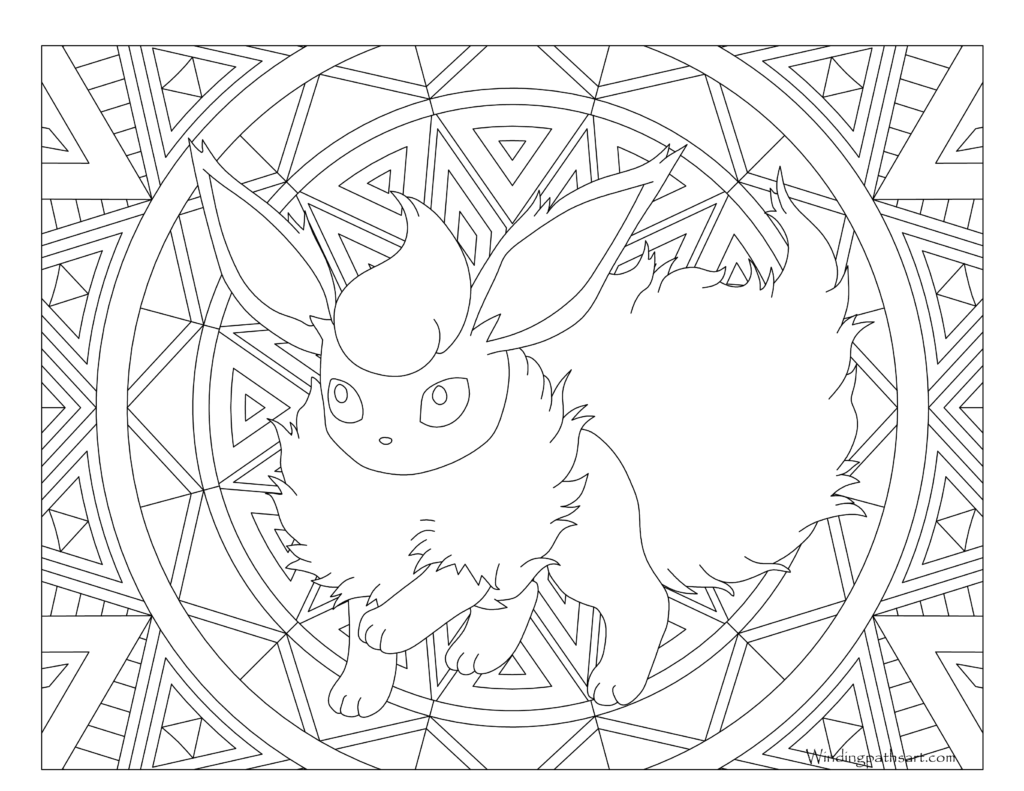 Eeveelutions drawing stained glass. Pokemon coloring page printable