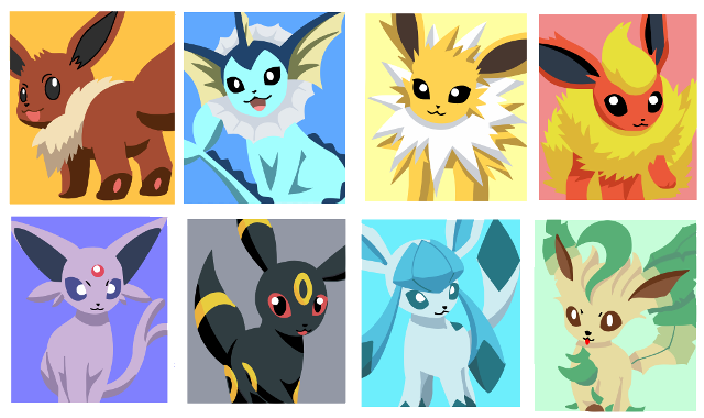 Eeveelutions drawing stained glass. Pok mon im genes