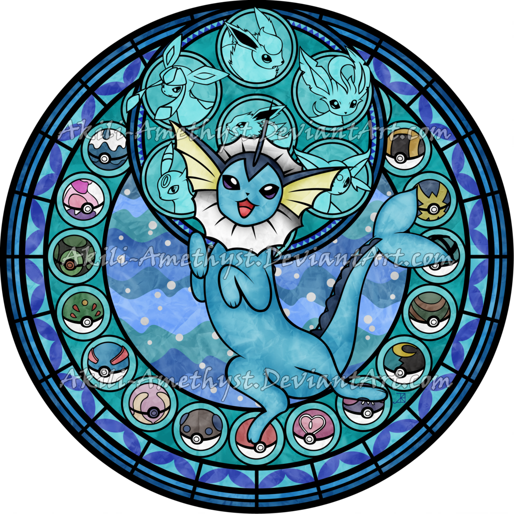 Eeveelutions drawing stained glass. Eeveelution sg vaporeon by
