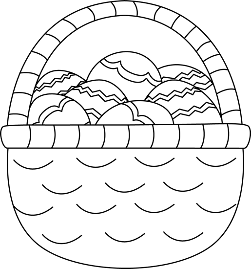 Eggs clipart outline. Black and white basket