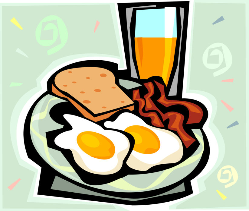 Eggs vector bacon egg. And toast orange juice