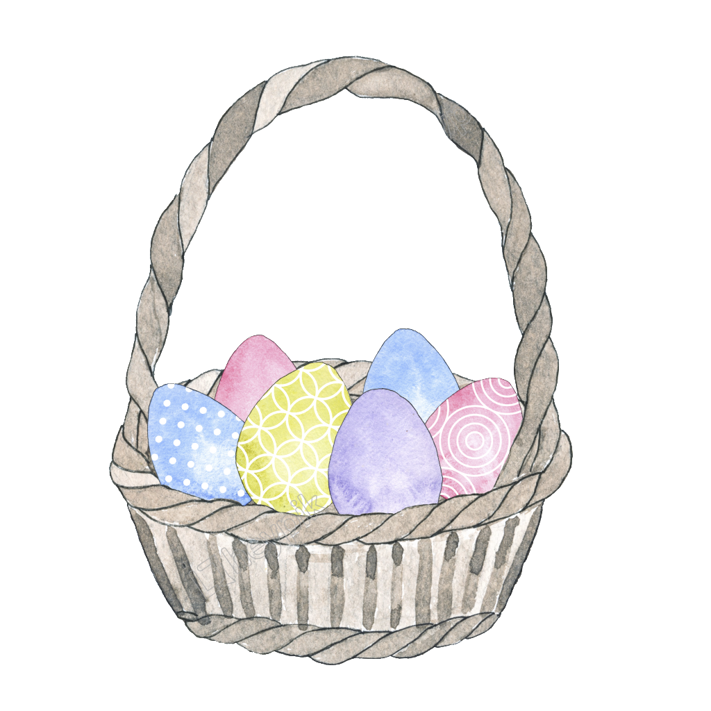 Eggs vector decorative. Hand painted basket egg