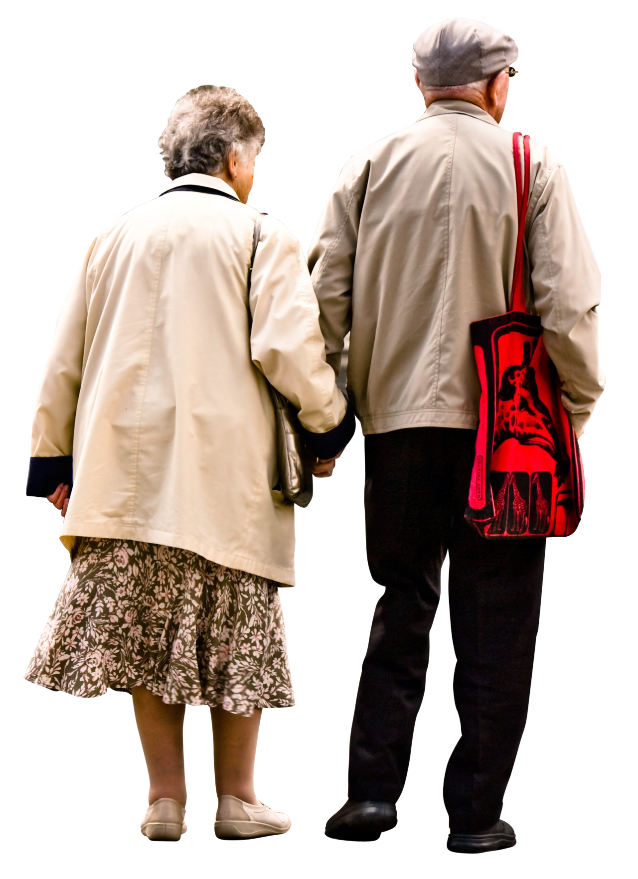 Elderly couple png. Holding hands walking garry