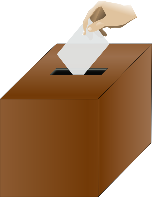Hand clipart voting. Ballot box polling place