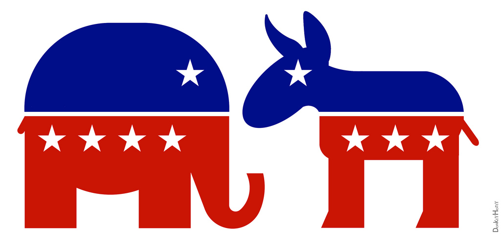 Politics clipart black and white. Republican elephant democratic donkey