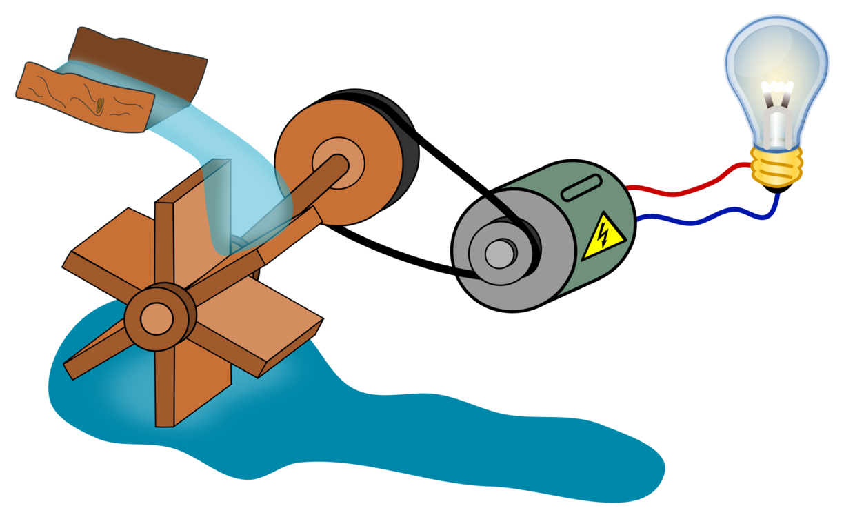 Electric clipart cartoon. Water wheel power station