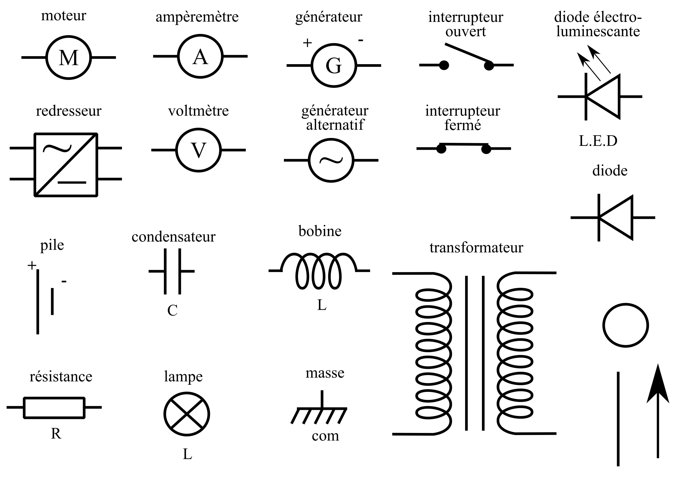 Svg symbols circuit. Clipart electricity components big