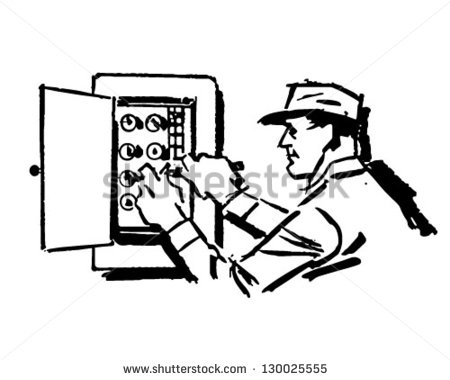 Electrical clipart black and white. Electrician letters pencil in