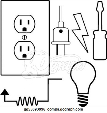Electrical clipart black and white.