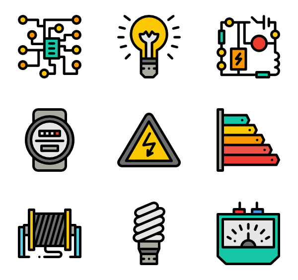 Electrician vector. Icons free tools