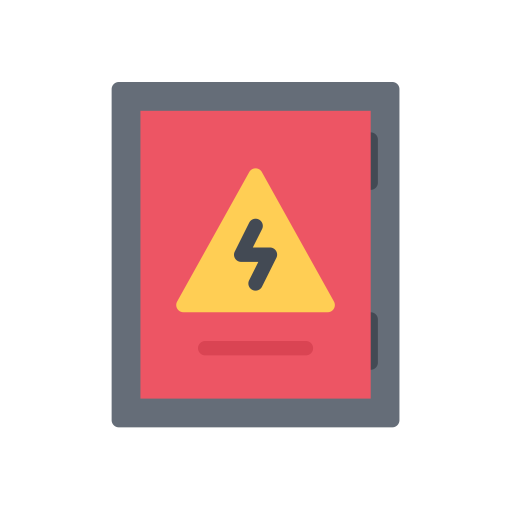 Electrician vector electricity symbol. Electrical panel fill icon