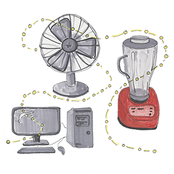 Electronics drawing home appliance. Collection of free electricities