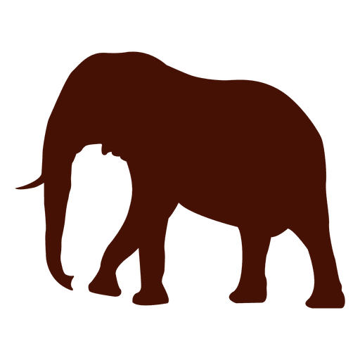 Mammoth vector. Elephant walking silhouette transparent