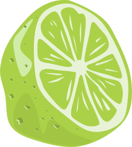 Elegant drawing fruit. Lime text is a