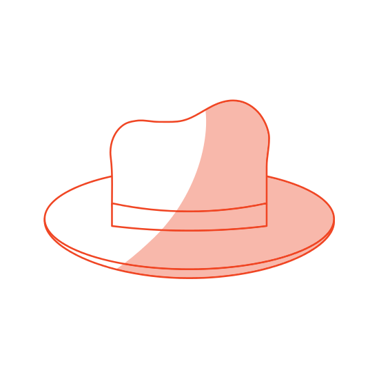 Elegant drawing hat. Icon icons by canva