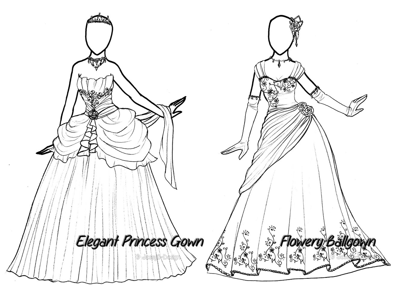 Elegant drawing princess. Outfit ota duo offer