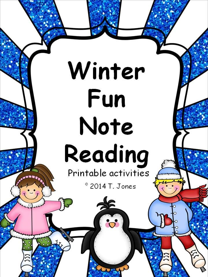 Elementary clipart practice teaching. Winter fun note reading