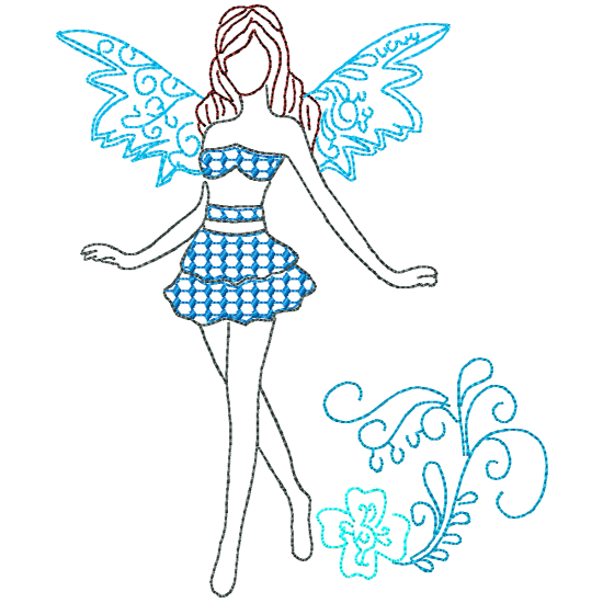 Elements drawing fairy. Pamela s embroidery fairies