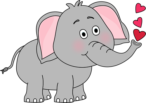 Elephant Blowing Hearts Clip Art