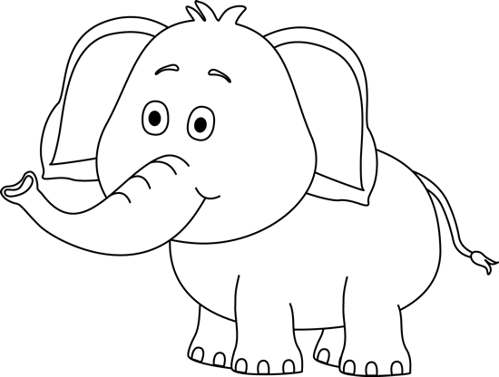 elephant clip art black and white