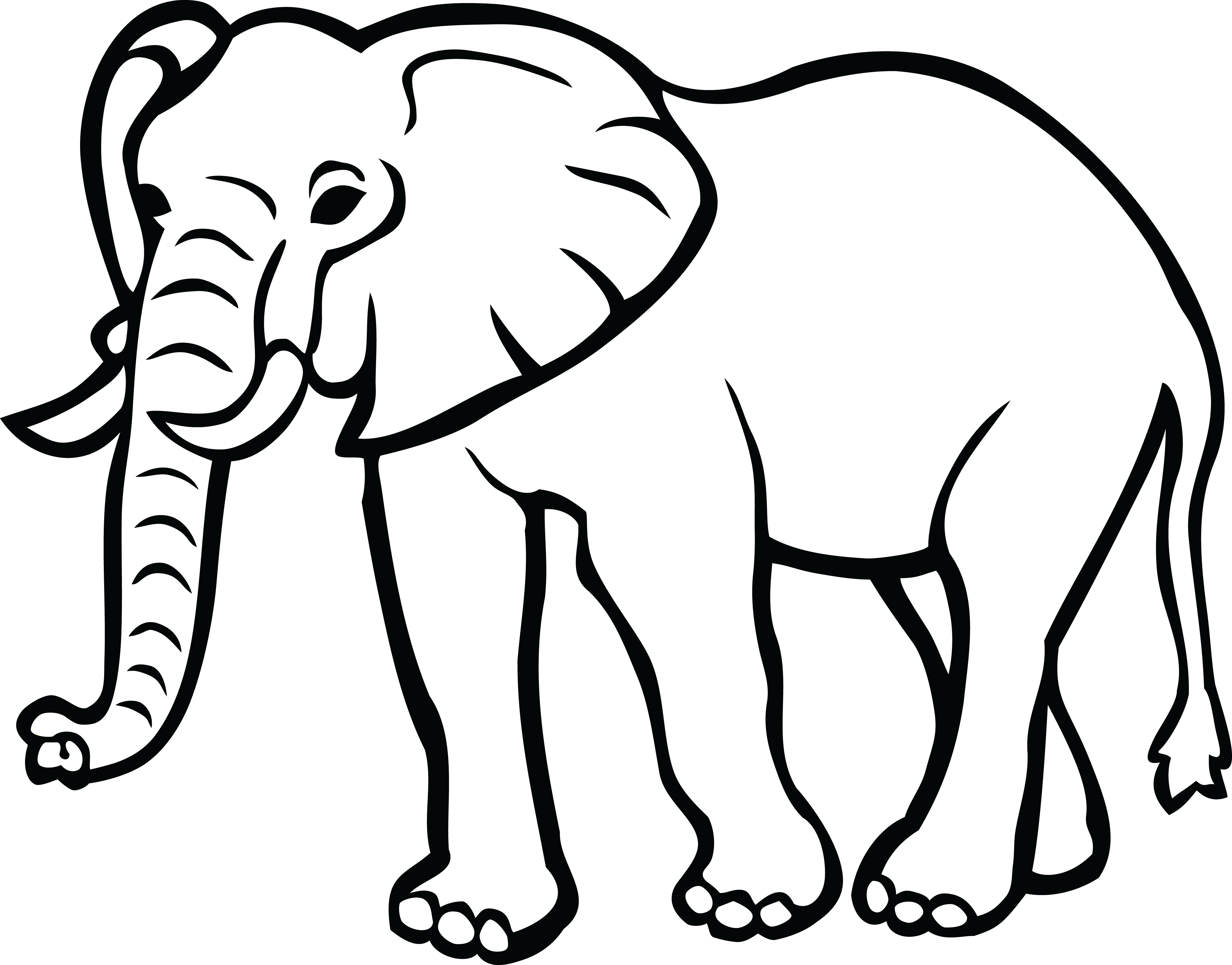 Elephant clip art black and white. Crafty design clipart clipartxtras