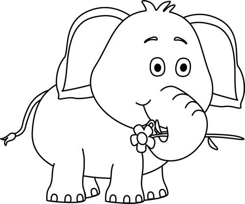 Elephant clipart black and white. Drawing at getdrawings com