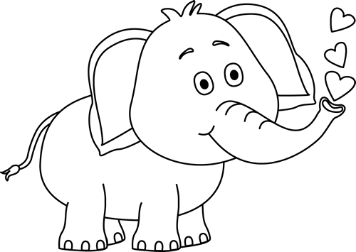 Elephant clip art black and white. Blowing hearts