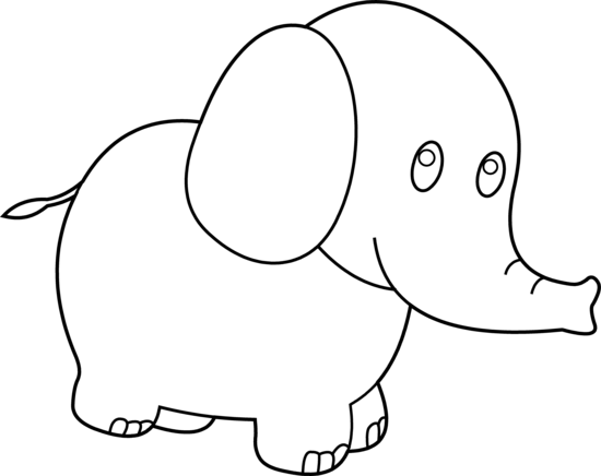 Cute black and white. Color clipart elephant clipart royalty free download